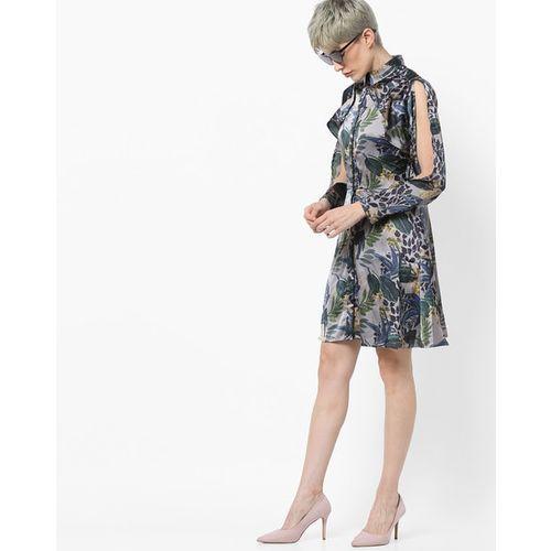 Kazo Floral Print A-line Shirt Dress with Slit Sleeves