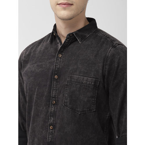 Mast & Harbour Men Black Regular Fit Solid Casual Shirt