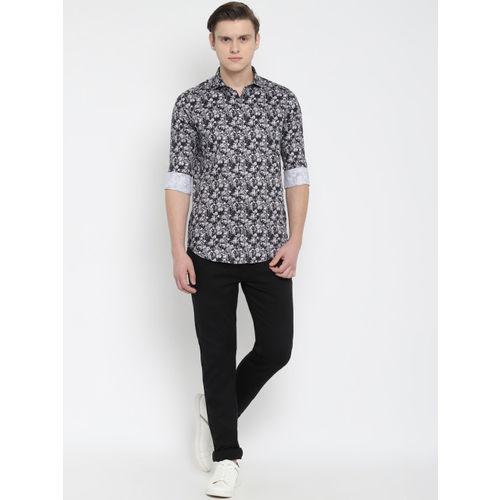 SIMON CARTER LONDON Men Black & Grey Slim Fit Printed Casual Shirt