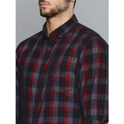 Louis Philippe Sport Men Black & Red Self Checked Super Slim Fit Smart Casual Shirt