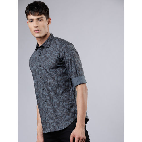 HIGHLANDER Men Black & Charcoal Slim Fit Printed Casual Shirt