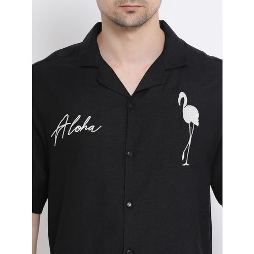 Oxolloxo Men Black Regular Fit Printed Casual Shirt