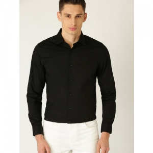 United Colors of Benetton Men Black Regular Fit Solid Knitted Casual Shirt