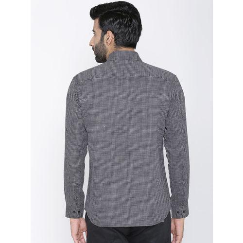 Dazzio Men Black & White Slim Fit Printed Semiformal Shirt