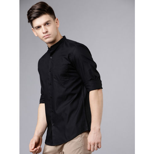 HIGHLANDER Men Black Slim Fit Solid Casual Shirt