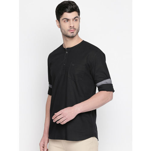 L.A. SEVEN Men Black Slim Fit Solid Casual Shirt