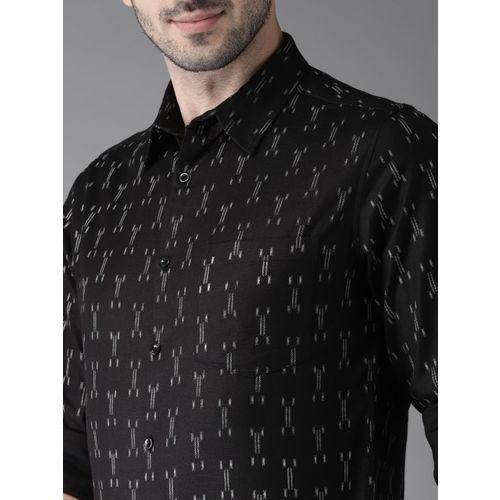 Anouk Men Black & White Regular Fit Self-Design Casual Shirt