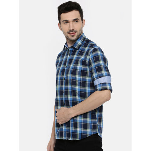 Van Heusen Men Black & Blue Slim Fit Checked Casual Shirt