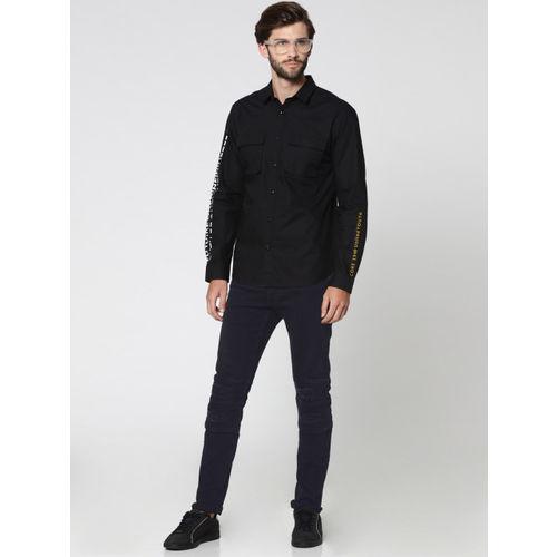 Jack & Jones Men Black Slim Fit Printed Casual Shirt