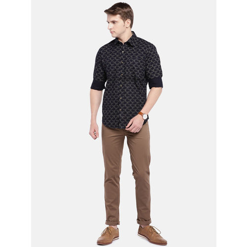 Provogue Men Black Slim Fit Printed Casual Shirt
