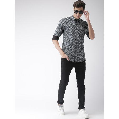 FOGA Men Black & Grey Tailored Fit Printed Casual Shirt