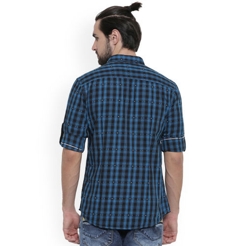 WITH Men Black & Blue Slim Fit Checked Casual Shirt