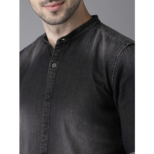 HERE&NOW Men Black Slim Fit Faded Denim Casual Shirt