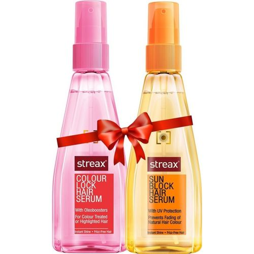 Streax Colour Lock Hair And Sun Block Hair Serum Combo Pack 100 ml Each(200 ml)