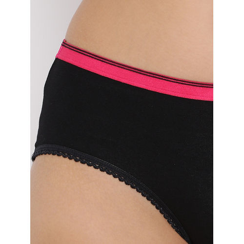 Clovia Cotton Mid Waist Hipster Panty - Black