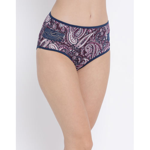 Clovia Cotton Mid Waist Printed Hipster Panty With Lace Inserts - Multi-Color