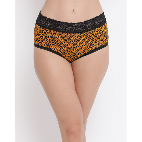 Clovia Cotton Mid Waist Printed Hipster Panty With Lace Waist - Multi-Color