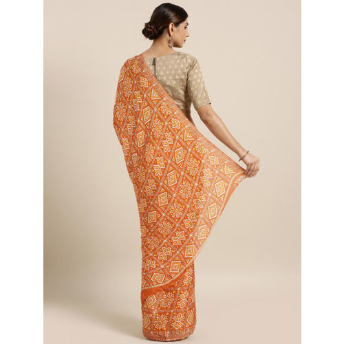 MOKSHA DESIGNS Orange Pure Crepe Printed Rajasthani Bandhani Bandhej Patola Saree