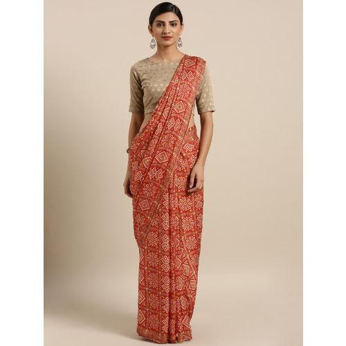 MOKSHA DESIGNS Red Pure Crepe Printed Rajasthani Bandhani Bandhej Patola Saree