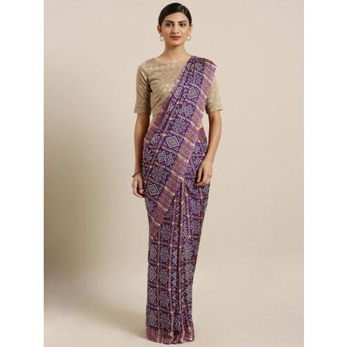 MOKSHA DESIGNS Purple Pure Crepe Printed Rajasthani Bandhani Bandhej Patola Saree
