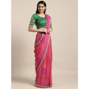 Kvsfab Pink & Green Poly Georgette Printed Bandhani Saree