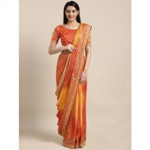Kvsfab Orange & Yellow Poly Georgette Printed Bandhani Saree