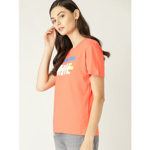 United Colors of Benetton Women Orange & White Printed Round Neck T-shirt