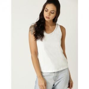 MANGO Women White Solid Sleeveless T-Shirt