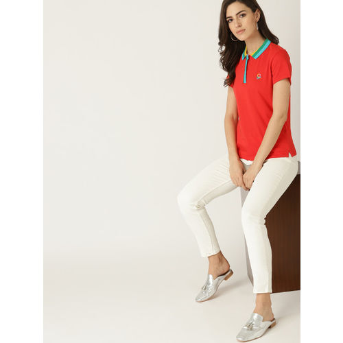 United Colors of Benetton Women Red Solid Polo Collar T-shirt