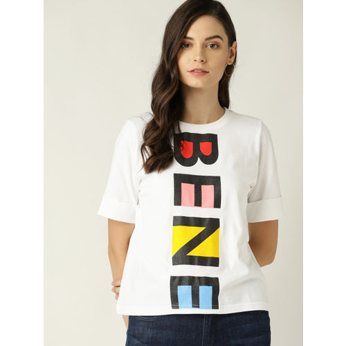 United Colors of Benetton Women White & Black Printed Round Neck T-shirt