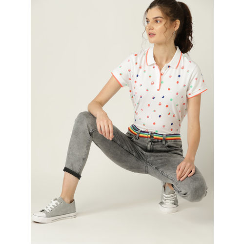 United Colors of Benetton Women White & Peach Printed Polo Collar T-shirt