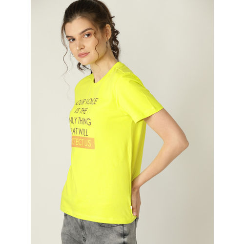 United Colors of Benetton Women Lime Green Printed Round Neck T-shirt