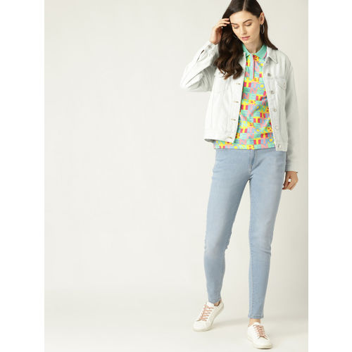 United Colors of Benetton Women Green & Yellow Printed Polo Collar T-shirt