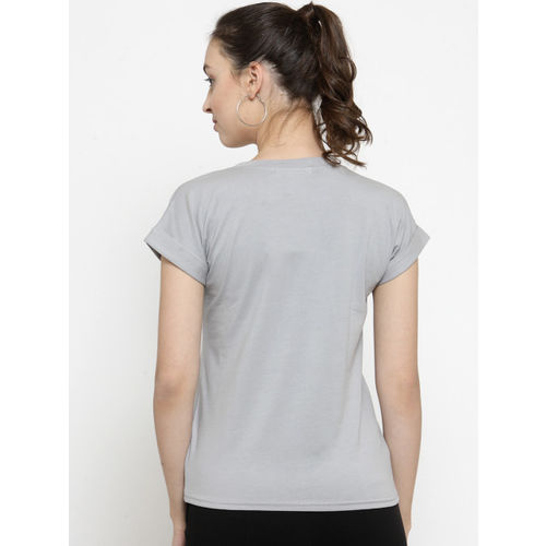 Everlush Women Grey Printed Round Neck T-shirt