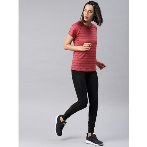 HRX by Hrithik Roshan Women Red Striped Round Neck T-shirt