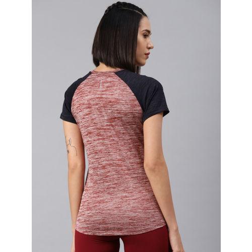 HRX by Hrithik Roshan Women Maroon Solid Running Tshirt