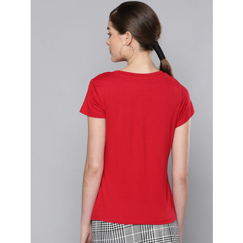STREET 9 Women Red Printed Round Neck T-shirt
