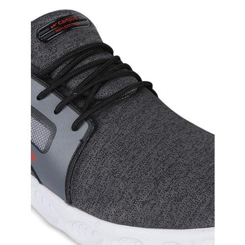 Campus Men Black & Grey Mesh Running Shoes