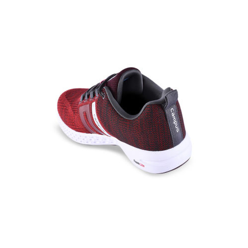 Campus Men Red & Grey Mesh Running Shoes