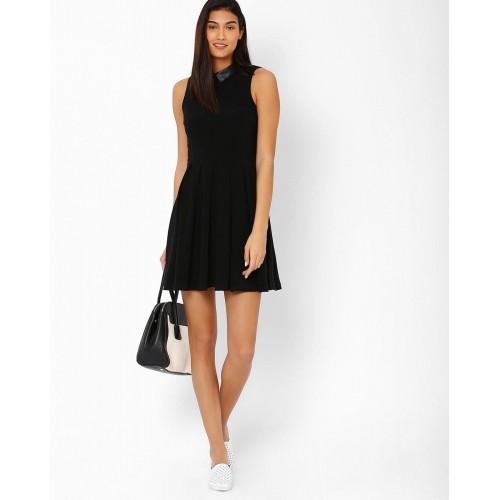 Buy Kira Plastinina Black Collared Skater Dress Online Looksgud