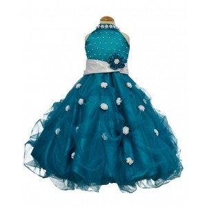 Simply Cute Turquoise Silk Party Wear Skirt Gown