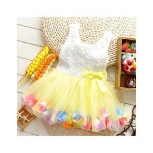 Tickles 4 U Yellow & White Cotton Tutu Dress