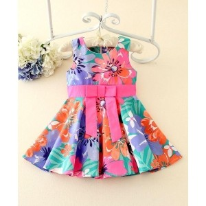 Peach Giirl Multicolour Cotton Floral Print Dress