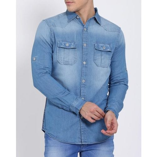LLAK JEANS Washed Slim Fit Denim Shirt with Button Flap Pocket