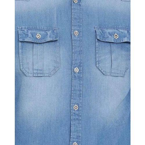 LLAK JEANS Washed Slim Fit Denim Shirt with Button Flap Pocket