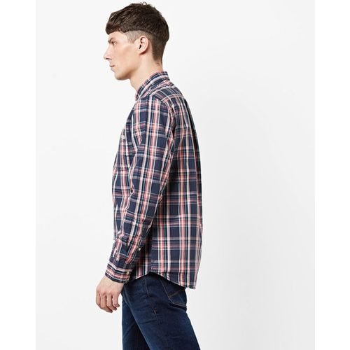 AERO JEANS Checked Cotton Shirt with Patch Pocket