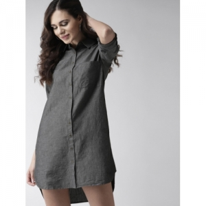 Mast & Harbour Women Charcoal Grey Solid Shirt Dress