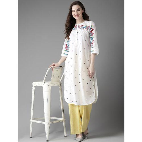 HERE&NOW Women White & Blue Embroidered Straight Kurta