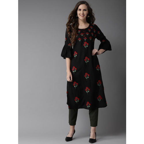 HERE&NOW Women Black & Red Embroidered Straight Kurta