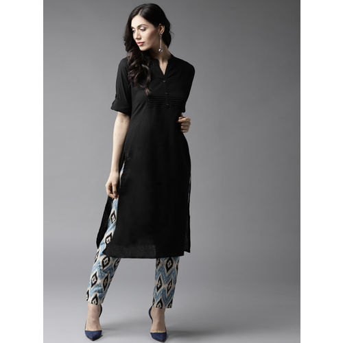 HERE&NOW Women Black & Blue Solid Kurta with Trousers